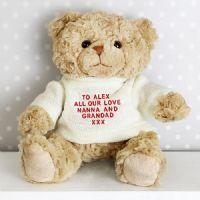 Personalised Teddy Message Bear in Cream Jumper - P021028  ideal gift for any occasion